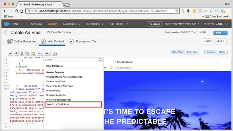 Salesforce Marketing Cloud Configuration Option For Dmp Pixels
